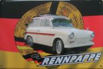 "Blechschild ""Rennpappe - Trabant 500 Kombi - DDR-Fahne"""
