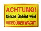 """Blechschild """"Achtung! Dieses Gebiet wird Videoüberwacht"""" gelb"""