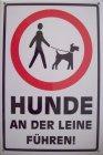 "Blechschild ""Achtung - Hunde an der Leine führen!"""