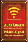 """Blechschild """"Aufräumen - Wlan-Signal"""""""