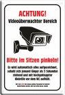 """Blechschild """"Videoüberwacht - Bitte im Sitzen pinkeln"""""""