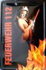 Blechschild - Feuerwehr Erotik Frau