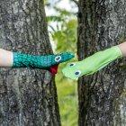 Erzgebirgische Handsocken Schlange und Frosch